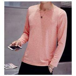 Fisen - Long-Sleeve Plain T-Shirt