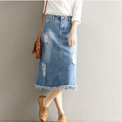 Clover Dream - Denim A-Line Midi Skirt