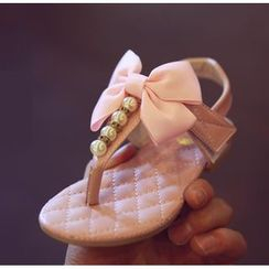 BOOM Kids - 兒童蝴蝶結仿珍珠夾趾涼鞋