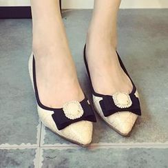 QiQi House - Patent Pointy Bow-Accent Heel Pumps