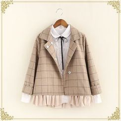 Fairyland - Check Ruffle Hem Coat