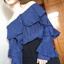 Miss Kekeli - Ruffle Trim Off Shoulder Long Sleeve Top