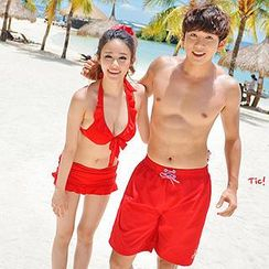 Tamtam Beach - Women Bow Halter Bikini /  Men Couple Matching Beach Shorts