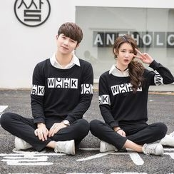 Je T'aime - Couple Matching Lettering Mock Two-Piece Pullover