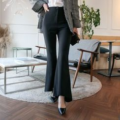DABAGIRL - Ruffled Boot-Cut Dress Pants