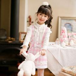 糖果雨 - 小童荷叶边雪纺衬衫
