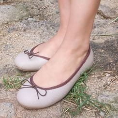 chuu - Bow-Detail Genuine Leather Flats