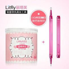 Litfly - Double Ended Blackhead Remover + Cotton Swabs