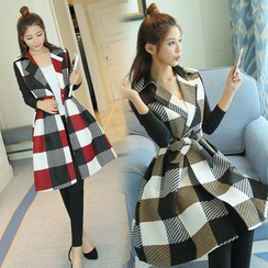 ESODO - Gingham Lapel Coatdress