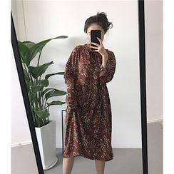 ALIN STYLE - Floral Print Long Sleeve Chiffon Dress