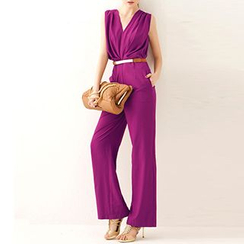 Fashion Street - Sleeveless Wide Leg Jumpsuit