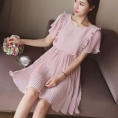 Cocofield - Pleated Short-Sleeve Dress