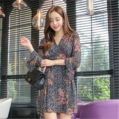 Babi n Pumkin - Bell-Sleeve Floral-Pattern Chiffon Dress