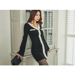UUZONE - Buttoned Contrast-Trim Knit Dress