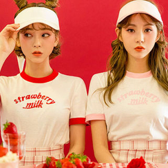 chuu - 'Strawberry Milk' Contrast-Trim T-Shirt
