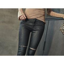 UUZONE - Slit-Trim Skinny Jeans