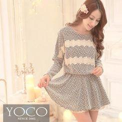 Tokyo Fashion - Lace-Trim Patterned Knit Minidress