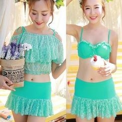 Sweet Splash - Set: Lace Frilled Top + Swimskirt + Cover-Up Top