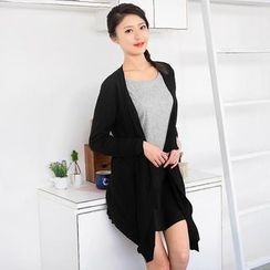 59 Seconds - Curved Hem Open-Front Long Cardigan