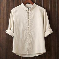 Newlook - Tab-Sleeve Mandarin-Collar Shirt