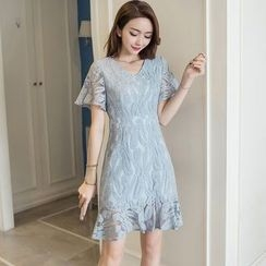 Cherry Dress - Short-Sleeve Lace A-line Dress