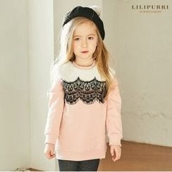 LILIPURRI - Girls Lace-Panel Brushed-Fleece Lined Sweatshirt
