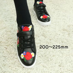 Dodostyle - Embroidered Faux-Leather Sneakers