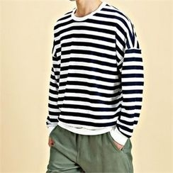 THE COVER - Drop-Shoulder Stripe Pullover
