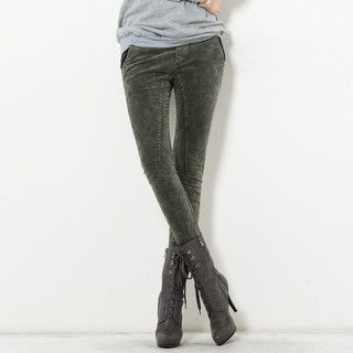 YesStyle Z - Drawcord Bleached Denim Leggings
