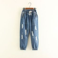 Mushi - Elastic Cuff Distressed Straight-Cut Jeans