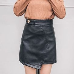 PUFII - Faux Leather Asymmetric Skirt