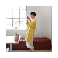 LEELIN - Long-Sleeve Slit-Side T-Shirt Dress