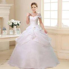 Bridal Workshop - Off-Shoulder Embroidered Wedding Ball Gown