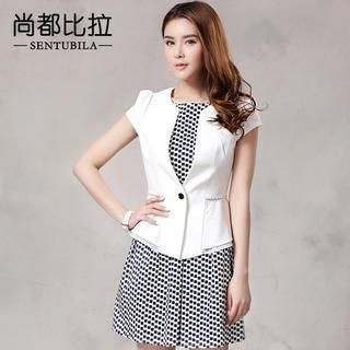 Sentubila - Cap-Sleeve Single Button Blazer