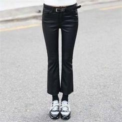 CHICFOX - Coated Boot-Cut Pants