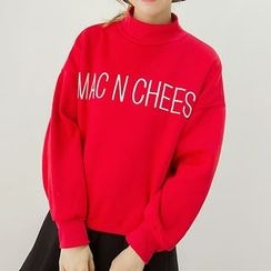 Honey House - Letter Embroidered Mock Neck Pullover
