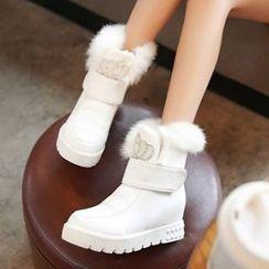 Tomma - Furry Platform Hidden Wedge Short Boots