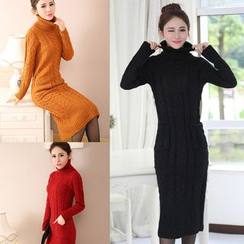 Zzang Girls - Turtleneck Cable Knit Midi Sweater Dress