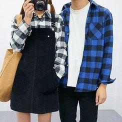 Seoul Homme - Couple Pocket-Front Gingham Shirt