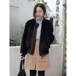 maybe-baby - Zip-Up Faux-Fur Jacket