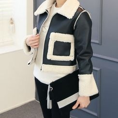 DANI LOVE - Zip-Up Faux-Shearling Jacket