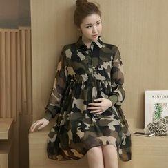 Hearty Bliss - 孕婦迷彩雪紡襯衫裙