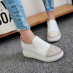 Shoes Galore - Sequined Panel Slip Ons