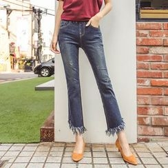 Seoul Fashion - Fringe-Hem Semi Boot-Cut Jeans
