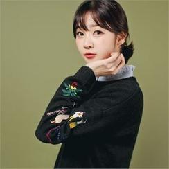 Styleberry - Embroidered Slit-Hem Sweater