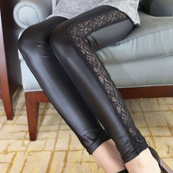Kally Kay - Lace Trim Faux-Leather Leggings