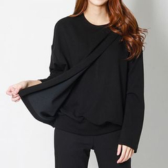 FASHION DIVA - Wrap-Front Zip-Back Pullover