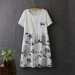 Blue Rose - Embroidered Panel Printed Short-Sleeve Dress
