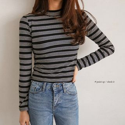 PPGIRL - Round-Neck Striped Knit Top