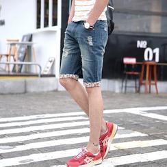 BiSquare - 佩斯利图案边做旧牛仔短裤